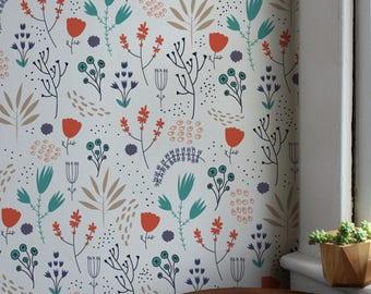 Removable Wallpaper, Desert Floral Design, Removable, Removable Wall Decor, Peel and Stick Wallpaper, Wall Paper Removable, Wallpaper - A163