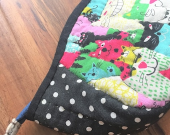 Sale---Hand-quilted Zipped Pouch, All Purpose Pouch, Storage, Handmade Gift, Cosmetic Pouch, Quilted Pouch, Fabric Purse, Pencil Case