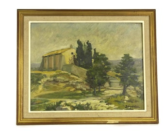 French Country  Church Painting by Severin.