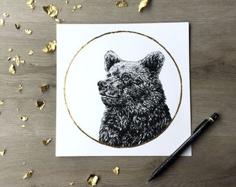 Ours grizzly fraise lune juin - Print du dessin original de Graphite avec feuille d'or Animal Portrait ours impression Woodland Print or