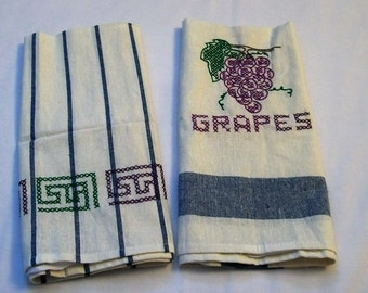 Dish Towel, Towel with Embroidery, Grapes Towels, embroidery kitchen towels, Embroidered Dish towel, Hand Embroidery, Kitchen Towel