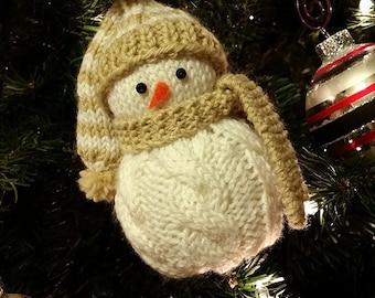 Brady the Snowman Ornament Knitting Pattern