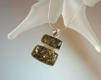Modern Green or Honey Amber Pendant Necklace - Natural Baltic Amber Set in Sterling Silver