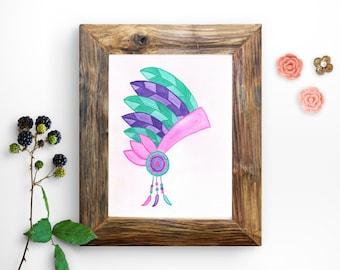 Indian headdress Print - Boho Nursery Print - Boho Printables- Native American Print - Native Americans Wall Art - Colorful Indian Print