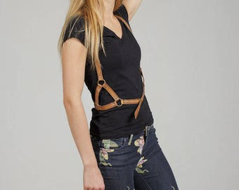 Leather body harness, brown, leather harness, custom, body harness, women, fashion harness, birthday gift, best friend gift, gift for her