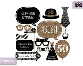50th Birthday Party Photo Booth Props