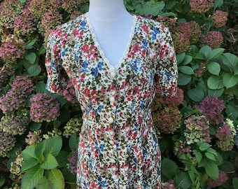 90's Floral Maxi Dress // 6 // 8 // Medium // Large // Lace // All that Jazz //