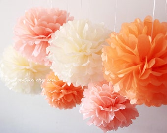 SALE - Warm Sunset - 6 Tissue Paper Pom Poms - for Baby Shower / Baptism / Birthday / Wedding Party Decoration - Fast Shipping