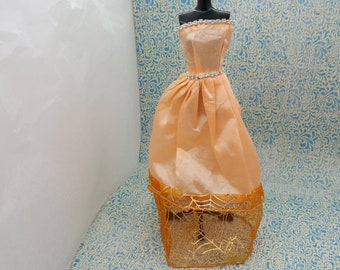 Barbie Strapless Gown Peach with Rhinestones Sparkling  fashions Outfit 11 inch doll