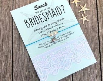 Bridesmaid anklet, Beach wedding bridesmaid, Summer wedding, Destination wedding, Destination bridesmaid gift, Ask bridesmaid, B38