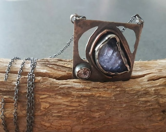Sold / Blue Moon/Iolite & Amethyst Necklace/ Handmade/One Of  A Kind/925/999 Silver/Organic Jewelry