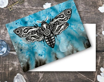 "Note Card ""Time will not be ours for ever."" Death's Head Hawk Moth Intuitive Artwork Bug Print - Blue Watercolor and Ink Art"