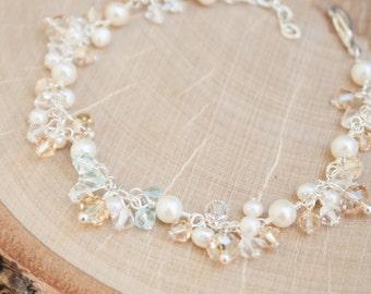 Bridal Bracelet | Pearl and Crystal Cluster Bracelet