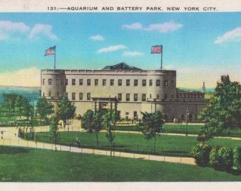 New York City, New York, Aquarium, Battery Park - Vintage Postcard - Postcard - Unused (FFF)