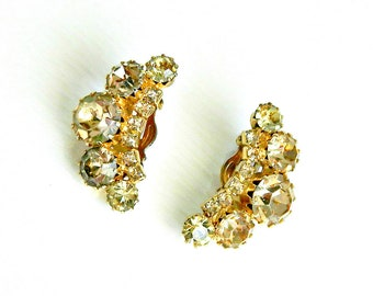 Weiss Signed Rhinestone Vintage Earrings, Champagne Gold Rhinestones, Crescent Moon Clip On Earrings