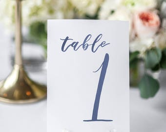 Watercolor Wedding Table Numbers NAVY // table cards // watercolor // wedding // table numbers // paper table cards // watercolor card