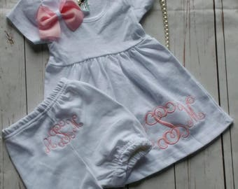 Personalized baby girl dress, monogrammed bloomers, infant dress, newborn baby gift, baby girl shower, monogrammed baby gifts, newborn dress