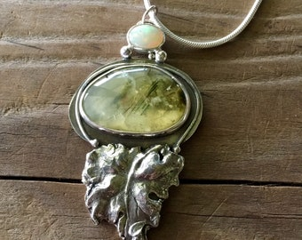 Spring green pendant Prehnite and Opal
