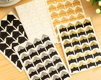 120pcs, Photo Corners Stickers, Kraft Photo Corners, gold, white, silver, black, scrapbook corners, Adhesive photo, photo album stickers