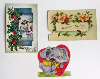 Lot of 3 Vintage to Antique Greeting Cards - Unused Clean Christmas Postcard - Used 1915 Birthday Postcard - Valentine's Day Mid-Century