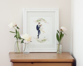 Custom Illustration COUPLE with PET Valentine Wedding Gift Idea