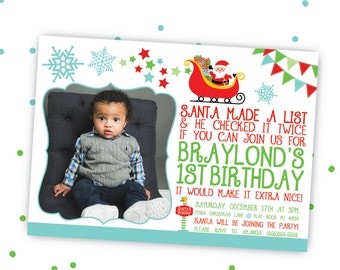 Christmas Birthday Invitation, Santa Birthday Invitation, Holiday Birthday Invitation, Printable Birthday Invitation
