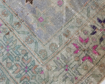 "11'x4'5"" Worn and Faded Neutral and Pink Vintage Turkish Rug"