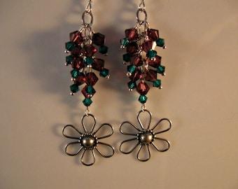Crystal Cluster Earrings,drop earrings,dangle earrings,cluster earrings,crystal earrings,swarovski crystal,silver earrings,flower earrings