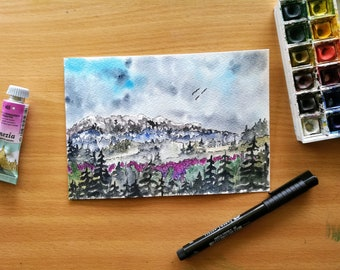 Columbia Gorge, Original Watercolor Landscape, Spring Painting, Evergreen Trees, Pine Trees, Pacific Northwest, Snowy Mountains, Floral Art