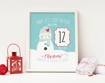 Baby It's Cold Outside - Advent Calendar Digital Print - Instant Download