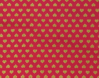 Kokka Fabric - Echino - Linen/Canvas - Red/gold Hearts - by the yard