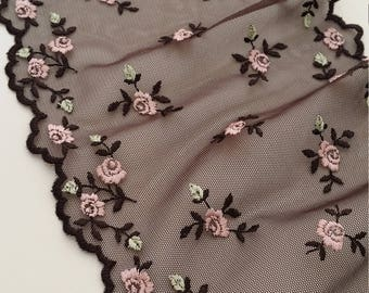 Brown lace Trimming with pink flower French Lace, Chantilly Lace, Bridal lace, Scalloped lace Floral Lace Lingerie Lace by the yard LL73611