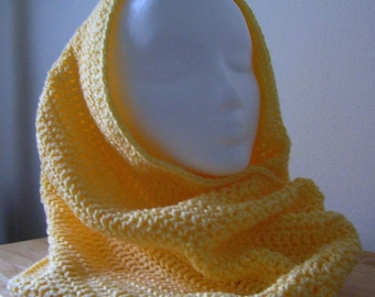 Shawl - Crocheted Convertible Cowl - Made of Acrylic Yarn in Yellow