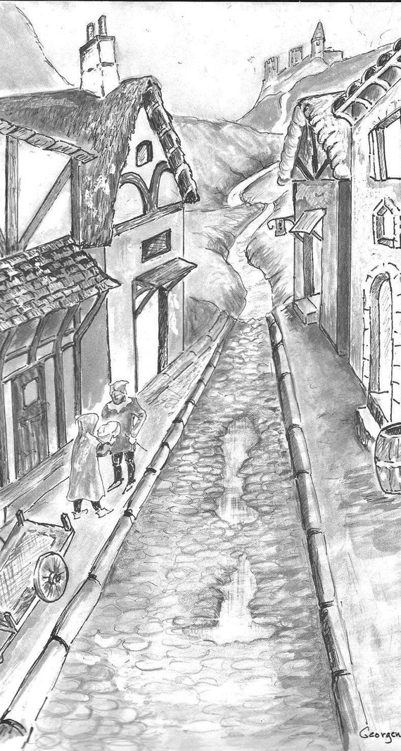 Fantasy Pen and Ink Drawing of Medieval Scene. Buildings