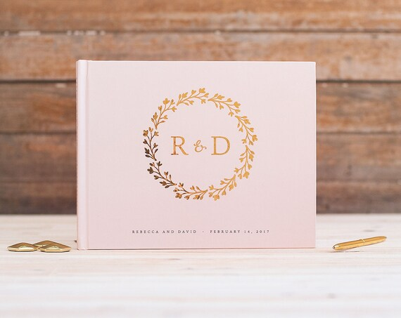Wedding Guest Book Gold Foil horizontal wedding guestbook monogram wreath gold foil photo guest book book instant photo booth book blush