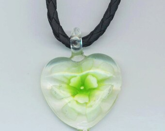 Vintage Murano Lime Green Floral Heart Pendant . Magical Heart . Valentine's Day . Milky Lime Green . Leatherette Chain . Lime Flower Heart