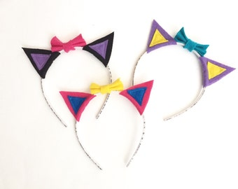 Cat Ears with Bows Headband Pack, Photo Booth Props, Birthday Party Props, Cat Party