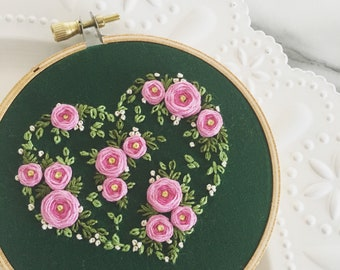 Hand Embroidered Rose Heart in 4 inch hoop