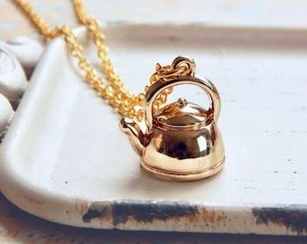 Neva - Collier or théière - tea pot charme - bouilloire - miniature théière