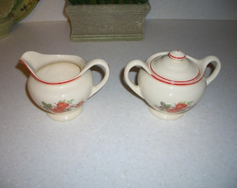 Vintage Universal Cambridge Creamer and Covered Sugar Bowl...American Beauty Rose