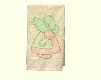 Tea Towel Sunbonnet Sue Prairie Girl Kitchen Towel Pink Green