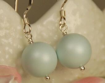 Pastel Blue Pearl Earring, Swarovski Single Pearl Drop Earring, Blue 10 mm Pearl in Sterling Silver, Bridesmaid Earring, Baby Blue Earring
