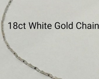 18ct 18K 750 Solid White Gold Chain Necklace for Pendant Jewellery Genuine NEW