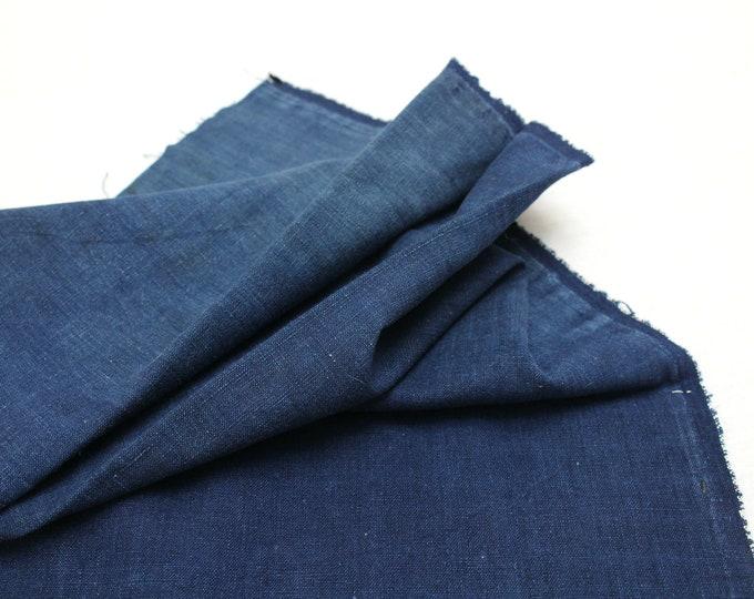 Japanese Indigo Cotton. Artisan Aizome Boro Textile. Blue Vintage Folk Fabric (Ref: 1637)