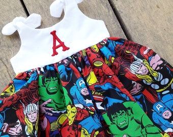 Superhero dress, marvel  baby dress, avengers, captain america, baby outfit, birthday dress, hulk,spiderman, personalized coming home outfit