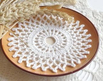 Small crochet doilies Crochet doily Round white handmade cotton lace doilies Small crochet doilies Centerpiece coaster Cotton 204