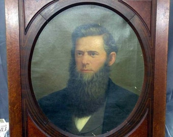 Antique Old Portrait Oil Painting on Canvas Man Beard Bearded American Americana