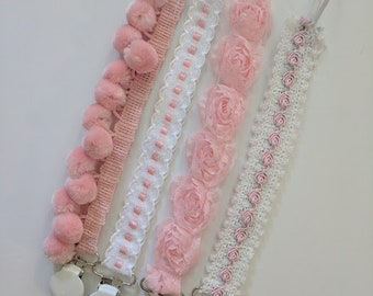 Pacifier Clips. Shabby Chic Baby Girl Pacifier Clips. Pink and White Clips. Wedding Pacifier Clips. Special Occasion Clips. Flower Girl.