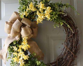 Summer Wreath, BOXWOOD Green Wreath, Primitive Wreath, Spring Boxwood Wreath, Handmade Wreath