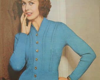 """Vintage 1950s Knitting Pattern Women's Cardigan Fitted Style - 50s original colour pattern - Lavenda No. 755 UK M L 36"""" 38"""" 40"""" bust"""